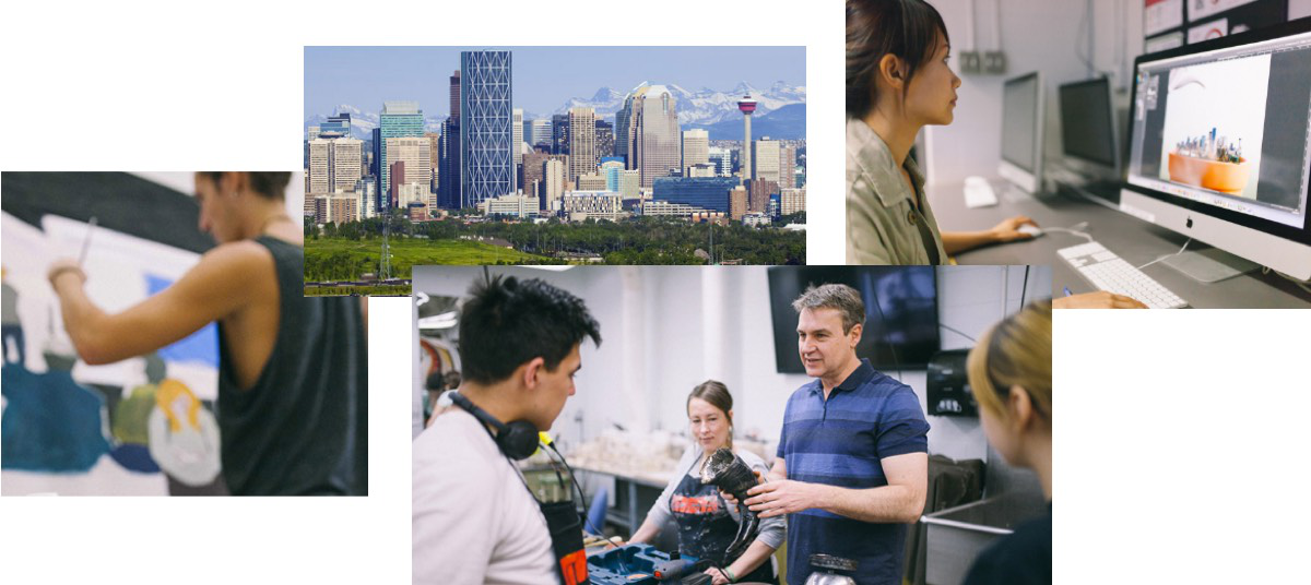 A collage of images of students and instructors at AUArts along with a skyline of down至wn Calgary.